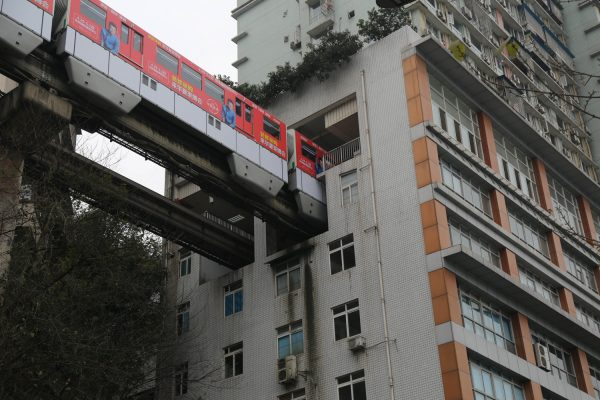 Light Railway Passes Through Residential Building
